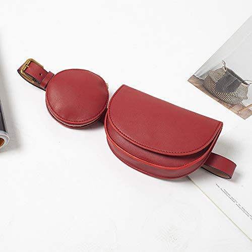 Cangurera Bolso de Cintura sólida a la Moda, Bolsos compuestos para Mujer, 2 Bolsillos, riñonera Breve para Mujer, riñonera Redonda de Cuero PU para Mujer Riñonera