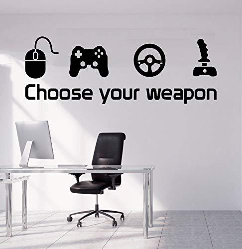 ANVPI 90X40CM Game Muursticker Decal kies je wapen gamer citaat controller video game jongens slaapkamer Handgemaakt