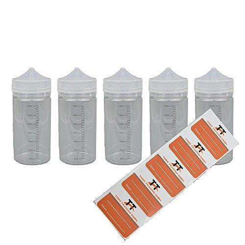 TORG TRADING 5 x 200ml PET- Stiftflaschen inkl. 5 Etiketten - Achtung: B-Ware, Sonderposten mit FEHLERHAFTEM Skala-Aufdruck - Liquidflaschen, Unicorn Bottle, Kunststoffflaschen (200ml)