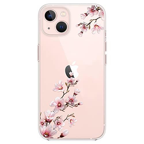 Kristallklar Handyhülle Kompatibel mit iPhone 13 Hülle, Schlank Weich Flexibel Dünne Klar Silikon Hülle, Cover Transparent mit Motiv Blumen Schützt vor Stößen Hülle 6,1 Zoll - Pfirsichblüte