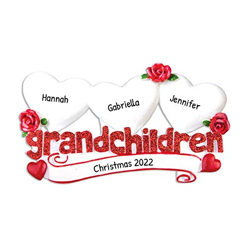 Personalized Grandchildren with 3 Hearts Christmas Tree Ornament 2020 - Glitter Red Word Love Flower Cousins Grand-Parent Grand-Kids Family Son Daughter Gift Year - Free Customization (Three)