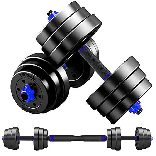 ダンベル 可変式 【最新進化版・3in1】 MOJEER 10kg 20kg 30kg 40kg 2個セット バーベルにもなる ダンベル 無臭素材 静音 FED (10kg×2個セット/ 青�KCP)