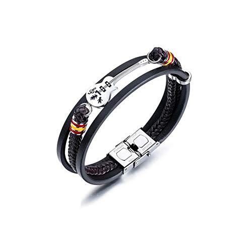 Bracelet Vintage en Cuir tressé 4 Style pour Homme Petite Guitare Bronze Alliage Boucle Bracelet Noir Marron