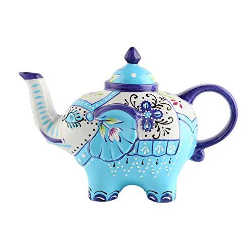 Doramie Elephant Tea Pot DecorativeHand Painted Craft Porcelain TeapotCeramic Coffee Pot Kitchen Art Teaware 27 Ounce(800ml