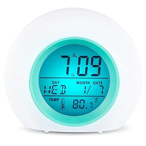 Reloj Despertador de Salida del Sol, Reloj de LED Digital, Reloj Despertador con 6 interruptores, demostración de Sonido Natural y Control táctil: con función de Snooze para durmientes Pesados,Azul