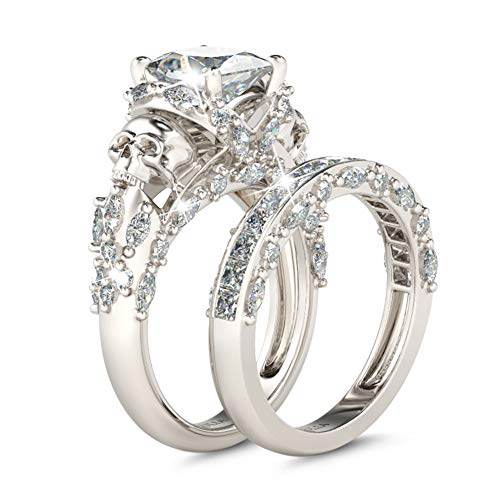 Jeulia Skull Engagement Ring Sets Sterling Silver Promise Eternity Band Rings Diamond Princess Cut with Cubic Zirconia Wedding Engagement Anniversary Promise Rings Bridal Sets (8.5(U.S))