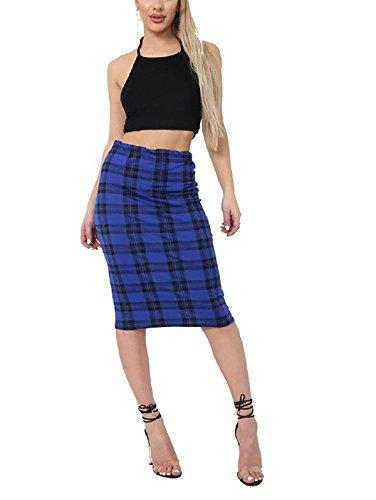 Islander Fashions Womens Printed Stretch Bodycon Midi Skirt Se�Oras Fancy Party Wear L�PIZ Falda Blue Tartan Print Small/Medium