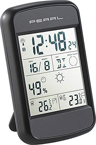 PEARL Funkuhr mit Thermometer: Digitale Wetterstation FWS-90 mit Funkuhr, Weckalarm & Wetterprognose (Digitale innen außen Thermometer)