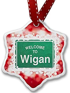 VinMea Christmas Ornament Green Road Sign Welcome to Wigan, red Xmas Decorative Hanging Ornament