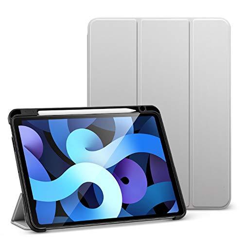 ESR Coque/Étui Folio Compatible Avec iPad Air 4 (2020), Avec [Porte-Stylet] [Coque Souple & Flexible] [Rabat à 3 Volets] Séries Rebound –Argent Gris