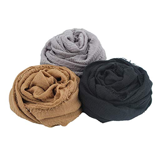 3 PCS Women Soft Cotton Hemp Scarf Shawl Long Scarves, Scarf and Wrap, Big Head Scarves, Travel Sunscreen Scarves for All Seasons Series 2, Best Gift for Valentine's Day Mother's Day.