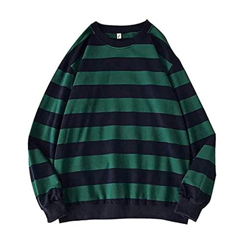 Sonojie Autumn Herren Gestreifter Sweatshirt Lässiger Gestreiftes Langarm Patchwork Pullover Schlanker Rundhals Sportswear Pullover Herrenmode Jacke Schwarz Blau