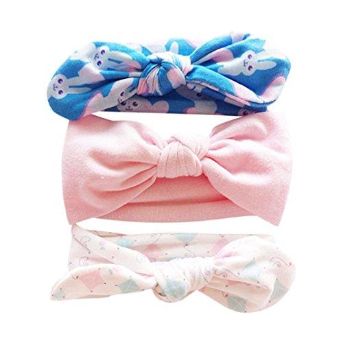 Huhu833 3 Stück Baby Stirnbänder Kinder Blumenstirnband Mädchen Baby Elastische Bowknot Zubehör Haarband Set (K)