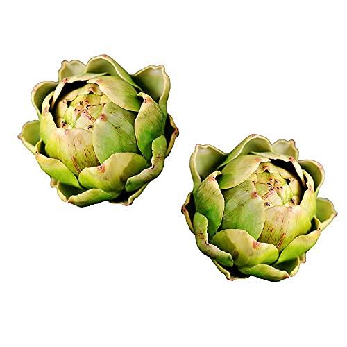 Kesio 2 Stück große künstliche Artischocke, künstliches Gemüse und Obst, Artischocke, künstliche Blumen für Hochzeit, Party, Tisch, Heimdekoration (grün)
