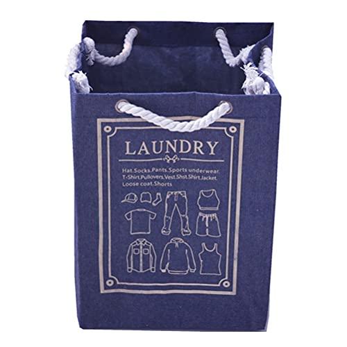 Cabilock Cesta para la ropa sucia reutilizable, gran capacidad, contenedor portátil, tela Oxford, azul oscuro, 50 x 37 x 33 cm