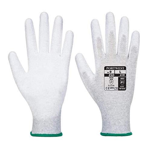 Portwest va199g7rxl expendedoras antiestático sintética Palm guantes, Regular, tamaño: XL, color gris