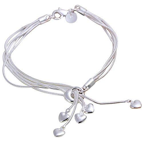 livecity Frauen Fashion Multilayer Fünf Herzen, versilberte Jewelry Hand Kette Armband