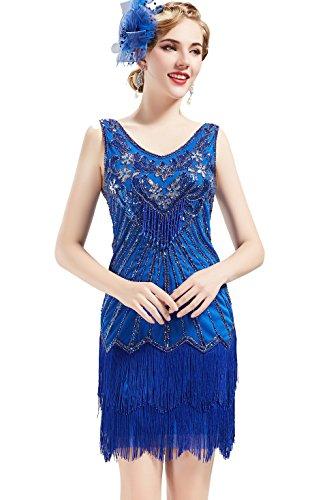 BABEYOND Damen Kleid Retro 1920er Stil Flapper Kleider mit Zwei Schichten Troddel V Ausschnitt Great Gatsby Motto Party Kleider Damen Kostüm Kleid (Blau, XS)