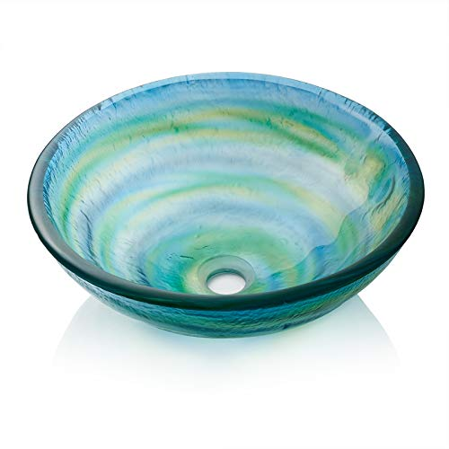 Product Image of the Miligore Modern Glass Vessel Sink - Above Counter Bathroom Vanity Basin Bowl - Round Blue & Green