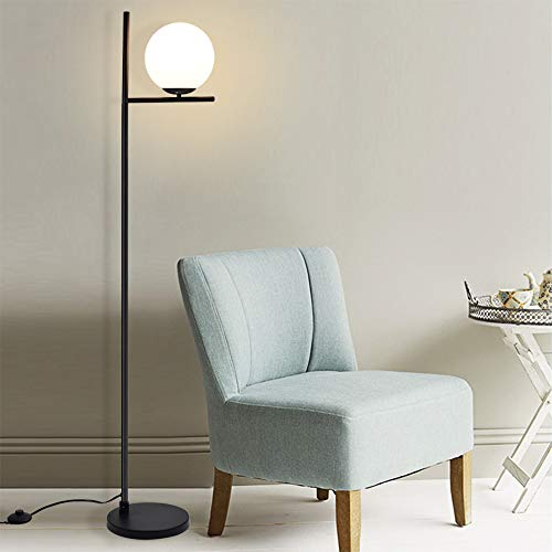 Depuley Black LED Floor Lamp with Matte Glass Globe,3000K Warmwhite, Modern Tall Pole Light with E27 Holder, Reading Floor Light for Living Rooms Bedrooms Offices (Bulb Included)