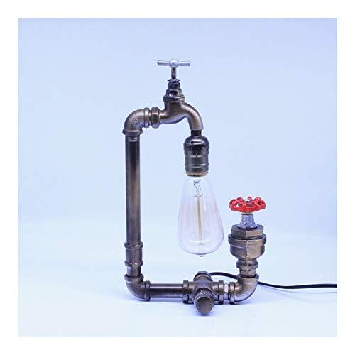 JISHIYU-Q Vintage grifo de lámparas de mesa - Hierro Tubería de agua de la base de la lámpara de escritorio por noche, Dormitorio, Comedor, Cafetería Bar, Pasillo Decoración (L 34cm)
