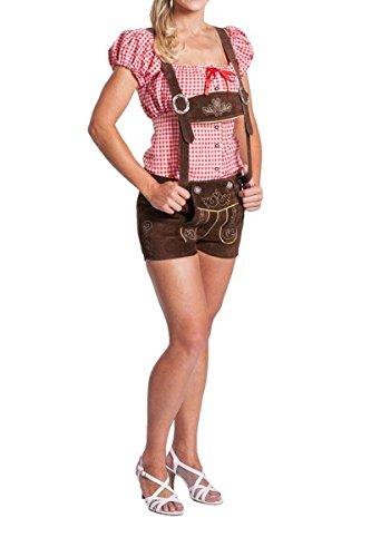 FROHSINN Damen Trachten Lederhose kurz, Trachtenlederhose, braun, Größe 36