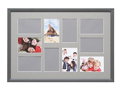 Deknudt Frames S54ST7-40.0X60.0 Collage-Bilderrahmen, Holz, für 10 Fotos S54SF7, 64,4 x 44,4 x 1,5 cm, Grau