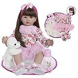 XBR 24 Pulgadas 60 cm Ojos Marrones y Pelo Largo Muñeca Reborn Priness Girl Doll, Vinilo Suave Silicona Algodón Cuerpo Vida como Reborn Baby Doll (E) Juguete de Moda Realista