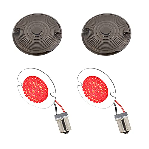 DTR2017 1156 Rear LED Turn Signals, 3 1/4 Inch Flat Motorcycle Red Running Tail Lights with Smoked...