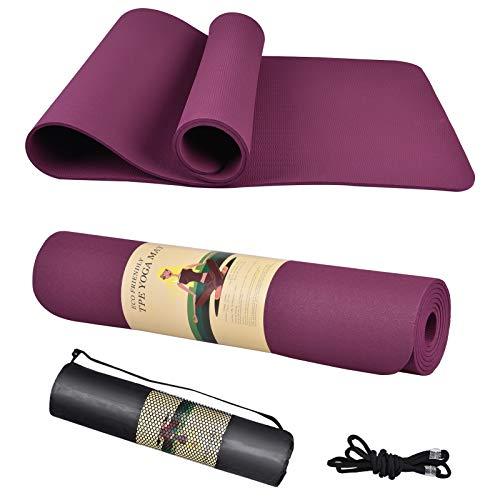 Bbranded Esterilla de yoga, gruesa antideslizante para entrenamiento en casa, pilates, yoga, ejercicio y fitness, mochila de esterilla de yoga (72 x 24 x 0,6 cm) (morado)