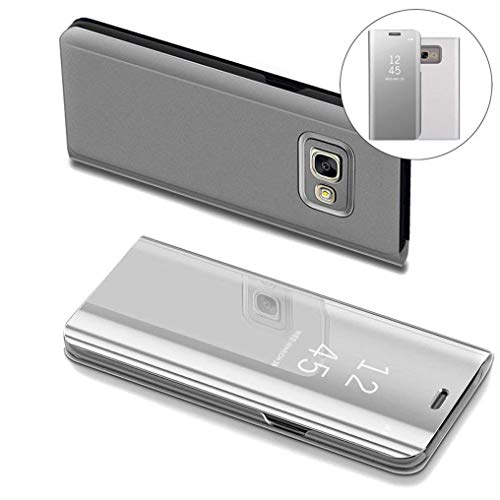 COTDINFOR Samsung J7 Prime Hülle Ledertasche Handyhülle Slim Clear Crystal Spiegel Flip Ständer Etui Hüllen Schutzhüllen für Samsung Galaxy On7 2016 / J7 Prime SM-G610 Mirror PU Silver MX.