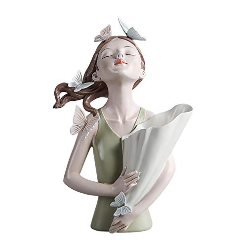 Butterfly Girl Vase Statue Sculpture Vase ,Vase for Floweres ,Carnations Tulips Roses Flower Vase Art Home Decoration, Vase for Living Room Bedroom Countertop (Green)