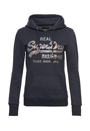 Superdry VL Stitch Sequin Entry Hood Capucha, Azul (Eclipse Navy Marl Agt), M (Talla del Fabricante:12) para Mujer