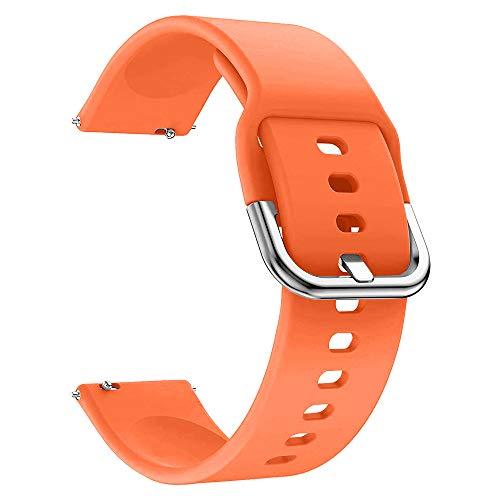EWENYS Correa de repuesto para deportiva silicona suave de smartwatch, Compatibile con Samsung Galaxy Watch Active 2 40mm 44mm / Garmin vivoactive 3 / Amazfit GTS GTR 42mm (20mm, Naranja)