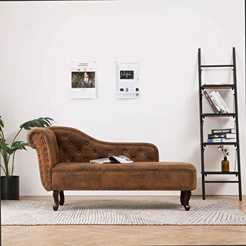 Festnight Chaiselongue | Recamiere | Récamiere | Chaise Longue Sofa | Couch Wohnzimmer | Antikes Braun Wildleder-Optik mit Holzrahmen 162 x 56 x 77 cm
