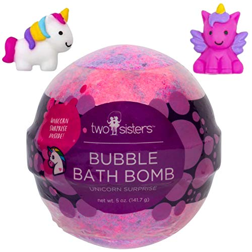 Unicorn Bubble Bath Bomb for Kids with Surprise Unicorn Squishy Toy Inside by Two Sisters Spa. Large 99% Natural Fizzy in Gift Box. Moisturizes Sensitive Skin. Releases Color, Scent, Bubbles