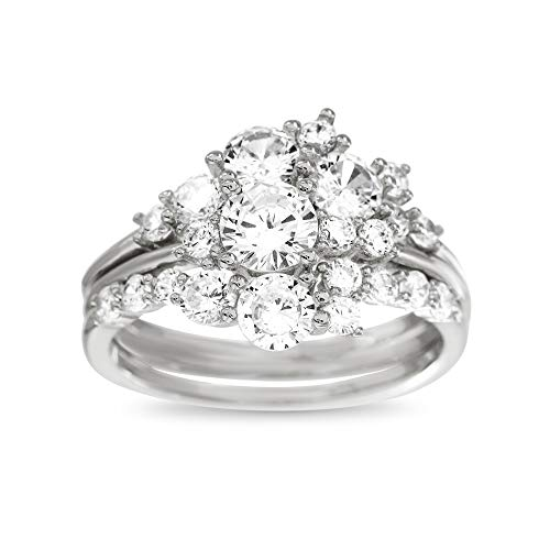 TwoBirch Floral Design Ying Yang Ring Guard and Engagement Ring Bridal Set (2 Rings) Diamond Simulant White Gold (Size 7)