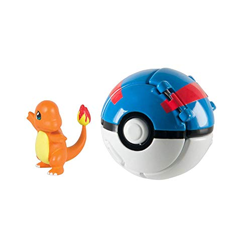 Mocoe Throw 'N' Pop Poké Ball, Charmander and Great Poke Ball, Pokemon Action Figure Game for Children's Toy Set