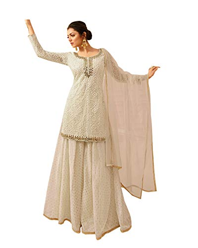Ziya Women's Indian/Pakistani Georgette White Color Plaazo Salwar Kameez (S-38)