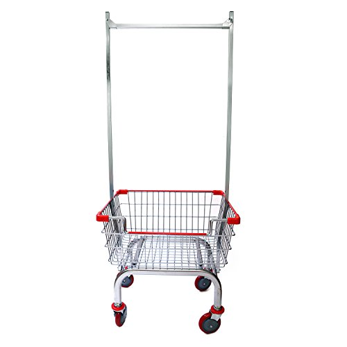 CART&SUPPLY Coin Laundry Cart, [Heavy Duty][Rolling Cart] Laundry Cart with Double Pole Rack [Chrome]