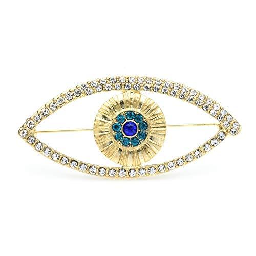 Broche de ojo azul con diamantes de imitación para mujer, diseño clásico, ideal para bodas, banquetes