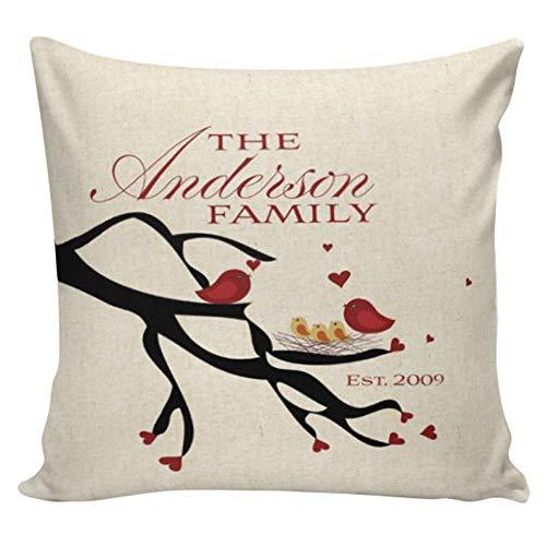 Yor242len Cojín de almohada personalizado amor almohada de algodón aniversario regalo pájaros en árbol cubierta elegir su nombre y fecha