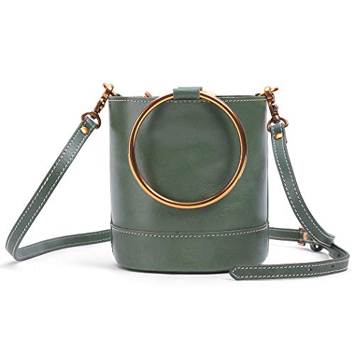 Genuine Leather Handmade Crossbody bag and Handbags for Women Vintage Shoulder Tote Bags Bucket organizer Drawstring bag (Light Green)