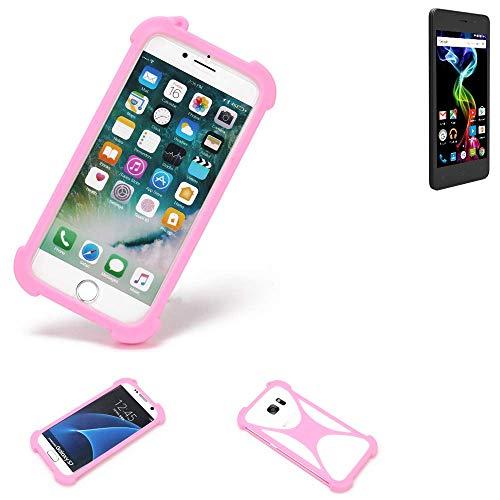 K-S-Trade Handyhülle Kompatibel Mit Archos 45d Platinum Schutzhülle Bumper Silikon Schutz Hülle Cover Case Silikoncase Silikonbumper TPU Softcase Smartphone, Pink (1x)