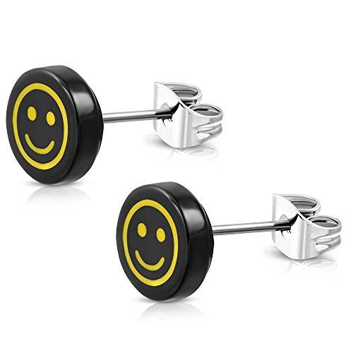 Bungsa EMOJI Ohrstecker HAPPY SMILEY Damen schwarz/gelb - runde Ohrringe mit lachendem Gesicht - nickelfreier EDELSTAHL Ohrschmuck für Kinder, Frauen & Männer - niedliche Emoticon Earstuds