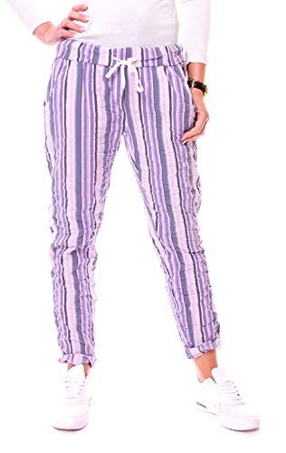 Easy Young Fashion Damen Hose Joggpants Boyfriend Jogger Pants 7/8 Lang Freizeithose Stoffhose One Size Gestreift Flieder