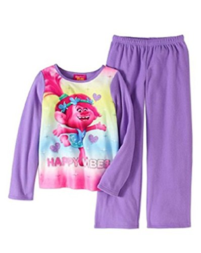 Trolls Girls Poppy 2pc Fleece Pajamas Happy Vibes,Purple,10-12
