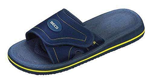 BECO Beermann GmbH & Co. KG Unisex-Erwachsene Fußbettpantoletten, Klettbandage Pantoletten, Blau (Blau/Gelb 62), 35 EU