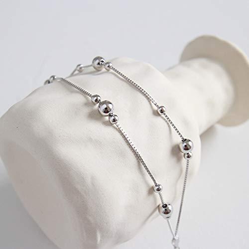 N/A Bracelet de Bijoux S925 Argent Pur Simple Boule Perles boîte chaîne et Lien Bracelet Femme Tenue décontractée Quotidienne Bijoux Ornements féminins