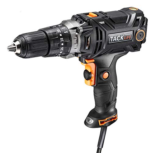 Hammer Drill, TACKLIFE Corded Drill 1/2 Inch, 620in-lb Torque, Hammer Drilling & Drilling & Screwdriver 3 Modes in 1, Paint&Mud Mixer, Adjustable Speed for Wood, Steel, Wall, Ceramics&Plastic - PID04A